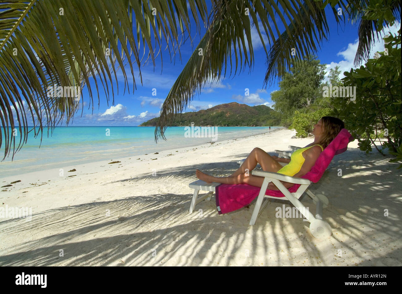 Young woman on deck chair, sleeping under palm trees, Praslin Island, Seychelles, Africa Stock Photo