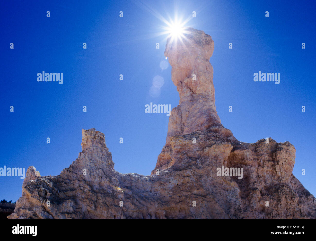 Hoodoos (thin rock spires) in the morning sun, Bryce Canyon National Park, Utah, USA - Stock Image