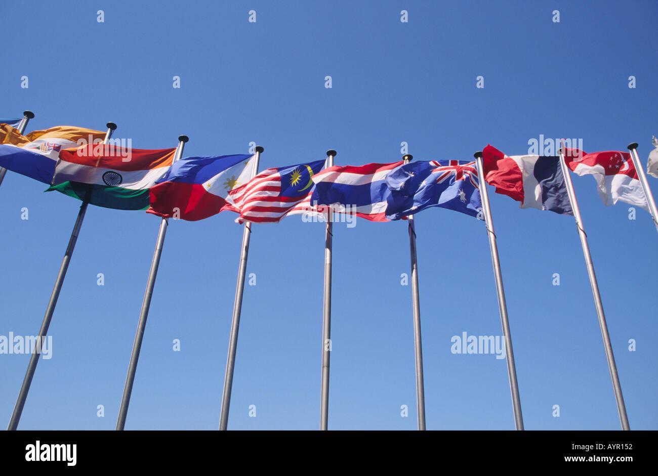 National Flags on Flagpoles Hong Kong - Stock Image