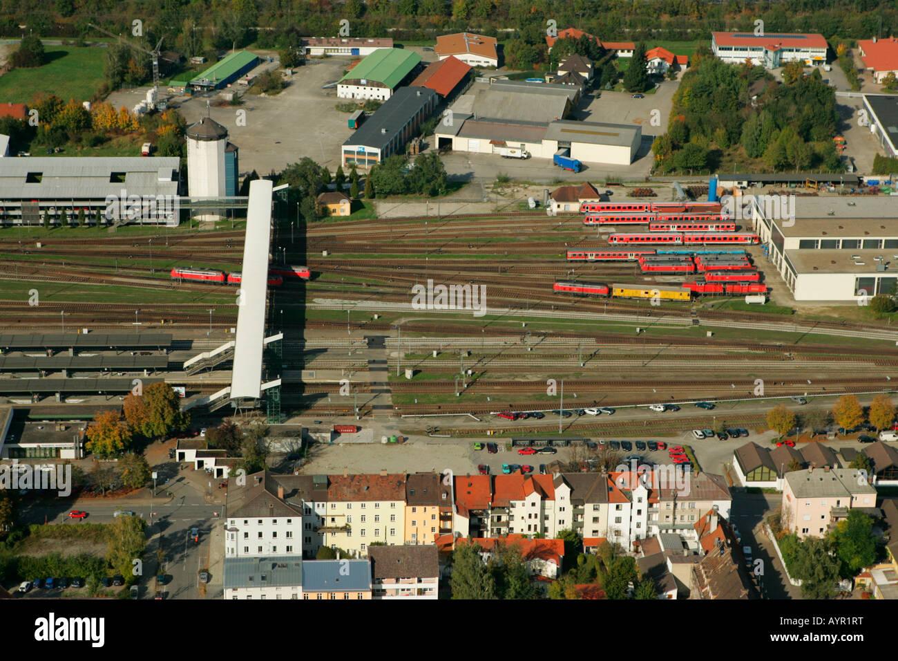 Aerial view of railway tracks near Muehldorf am Inn, Upper Bavaria, Bavaria, Germany, Europe - Stock Image