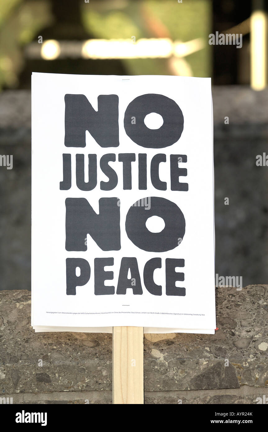 'No Justice No Peace' sign at a protest against the 2008 Munich Conference on Security Policy, Munich, Bavaria, - Stock Image