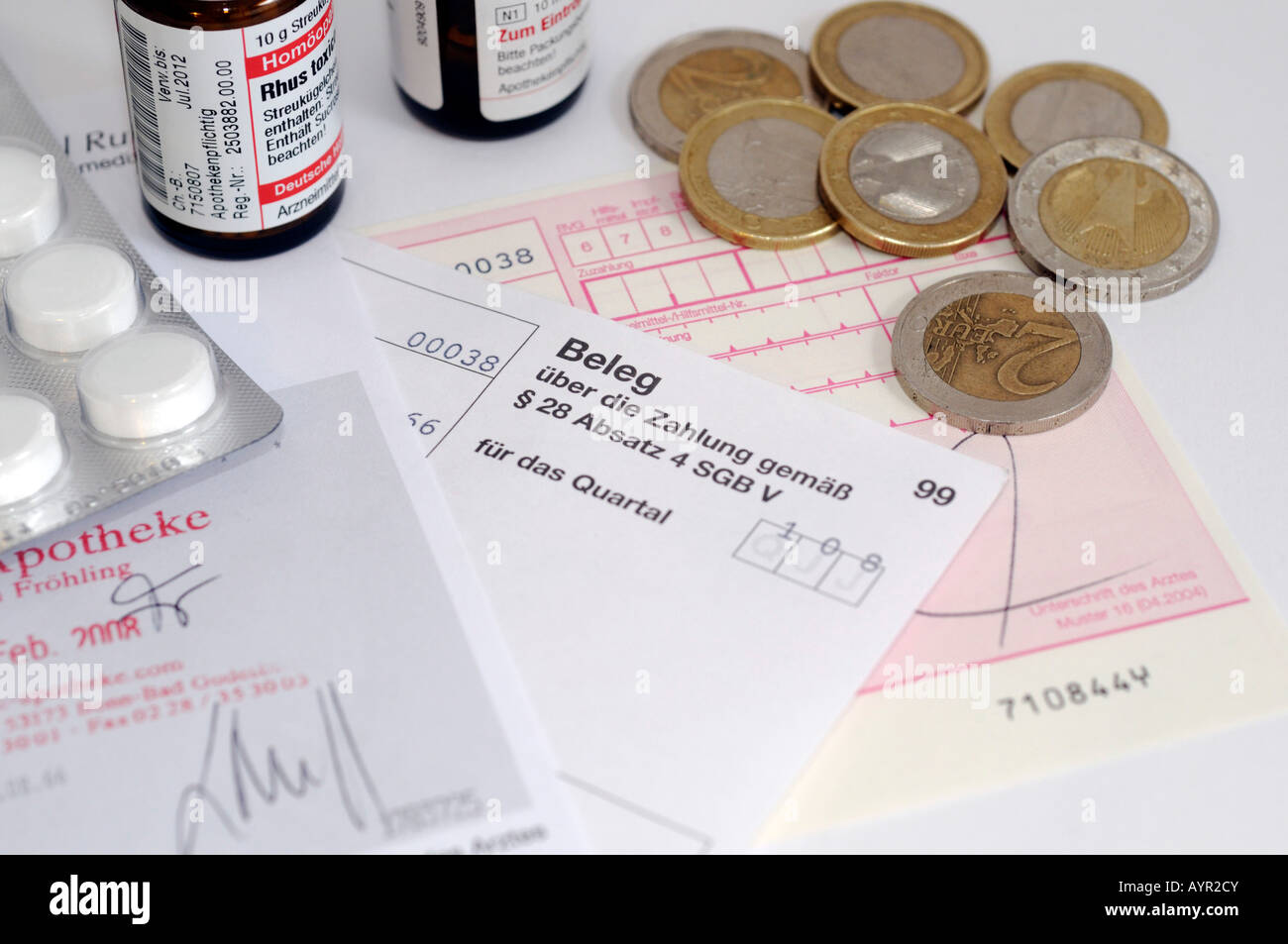 Medication, prescription, receipt and coins - Stock Image