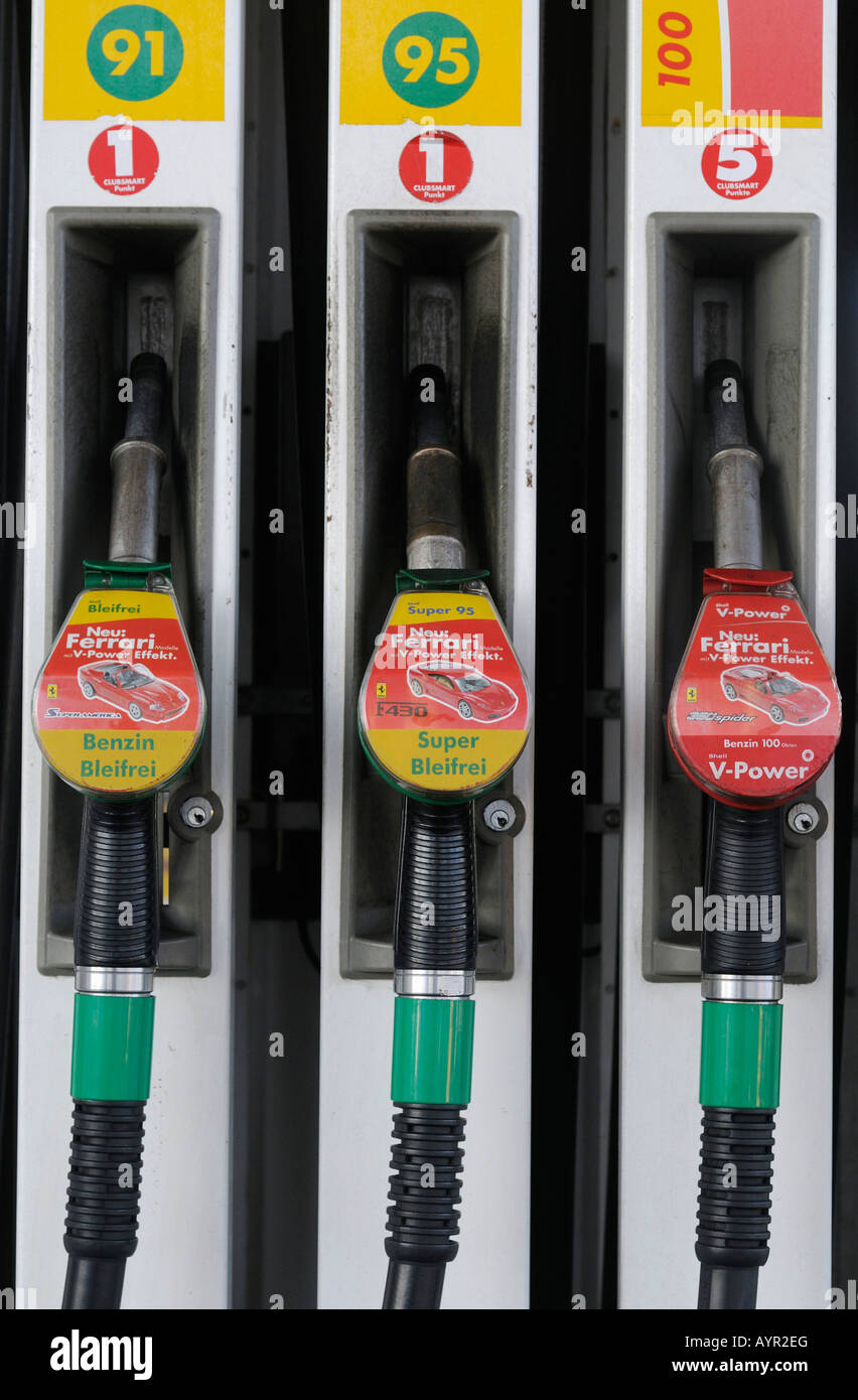 Fuel nozzles, gas pumps - Stock Image