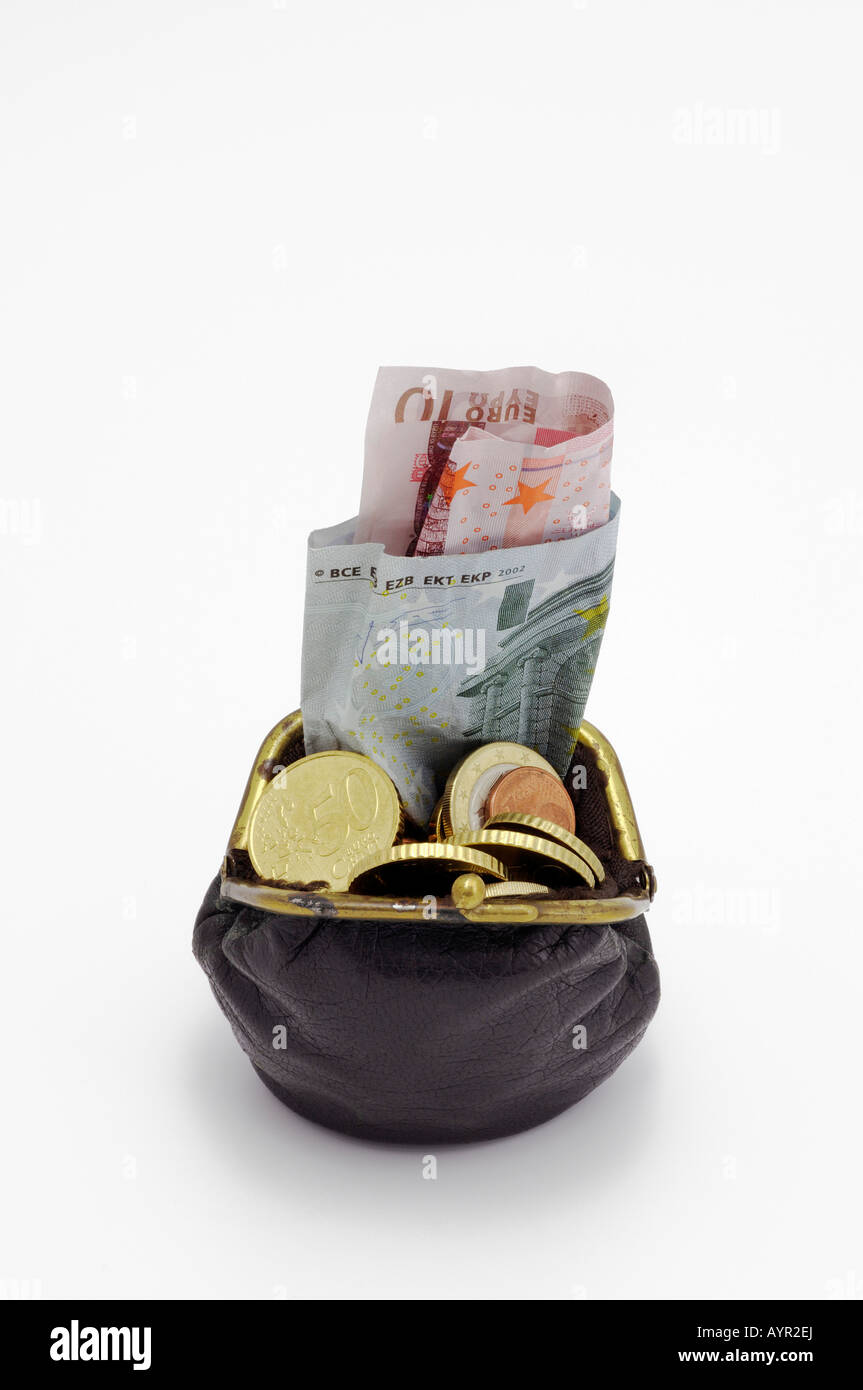 Wallet stuffed with Euros, cash and coins - Stock Image