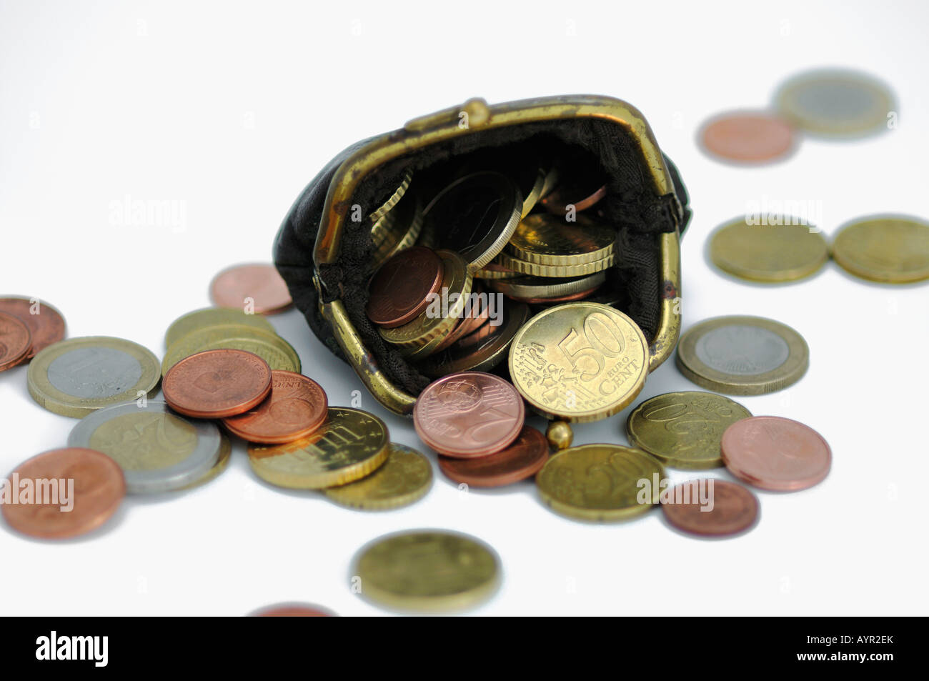 Wallet full of Euro coins - Stock Image
