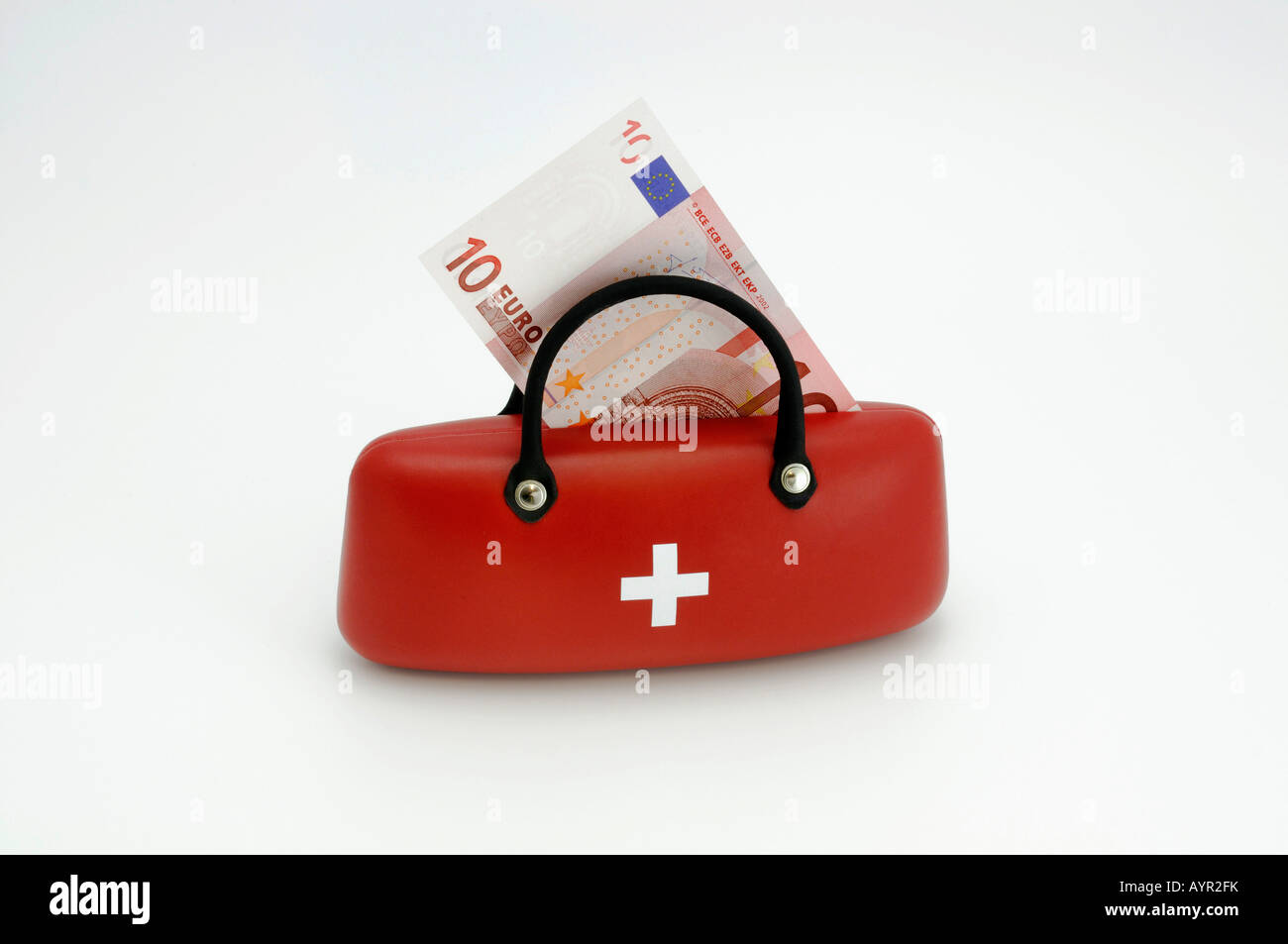 10-Euro note in a medical bag, symbol for doctor's fees Stock Photo