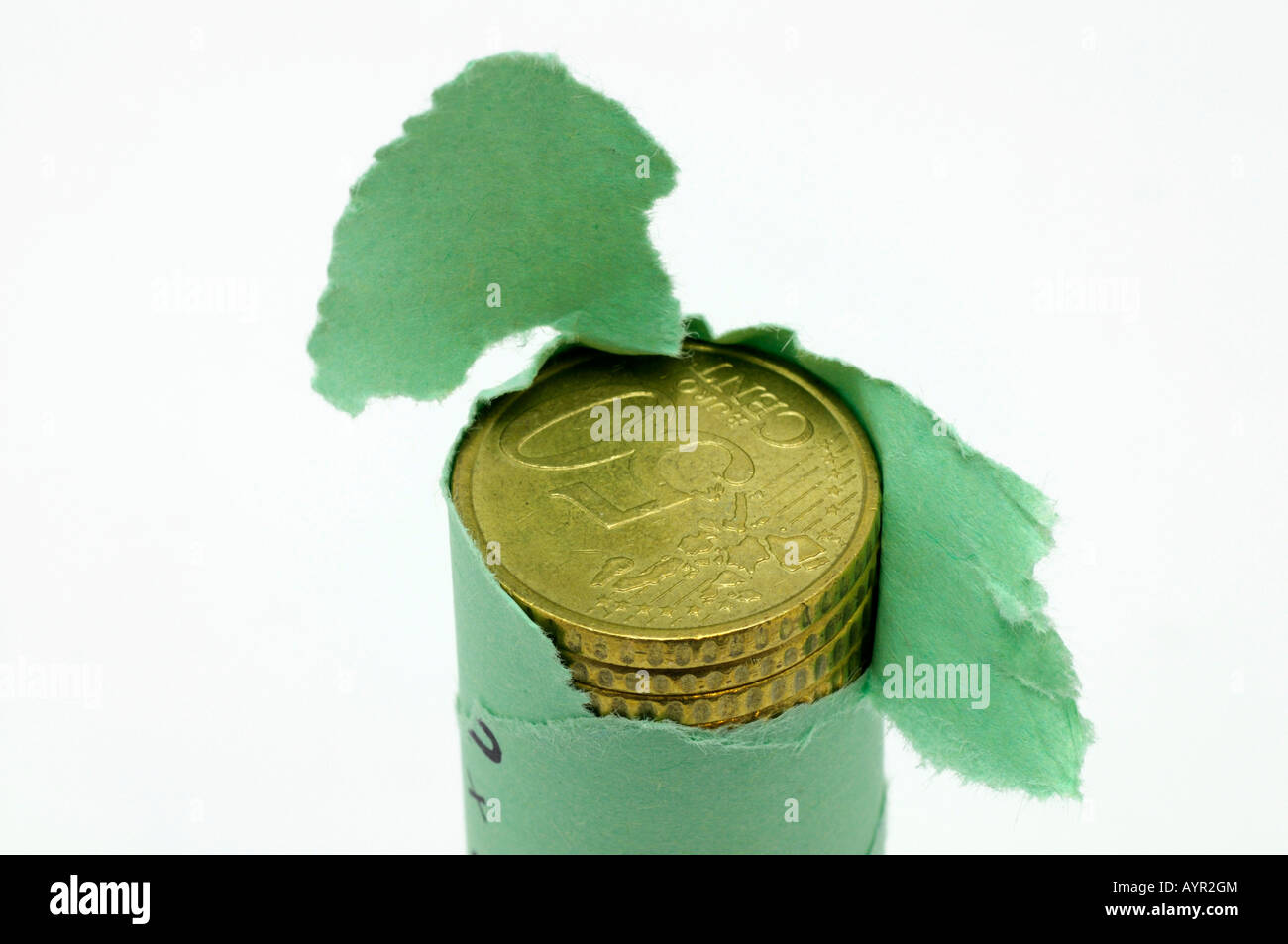 Opened roll of 50-cent Euro coins, cutout - Stock Image
