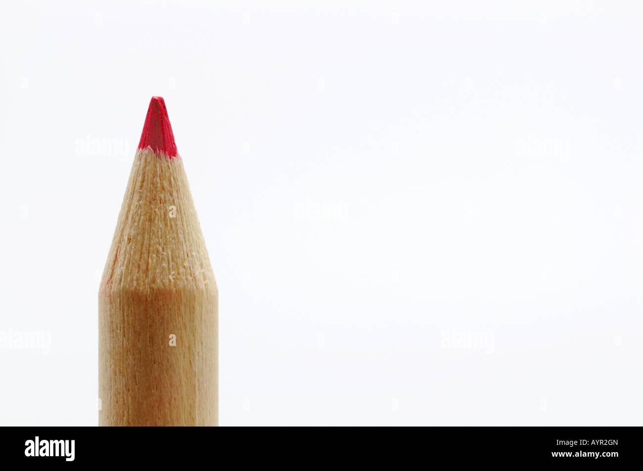 Red pencil crayon - Stock Image