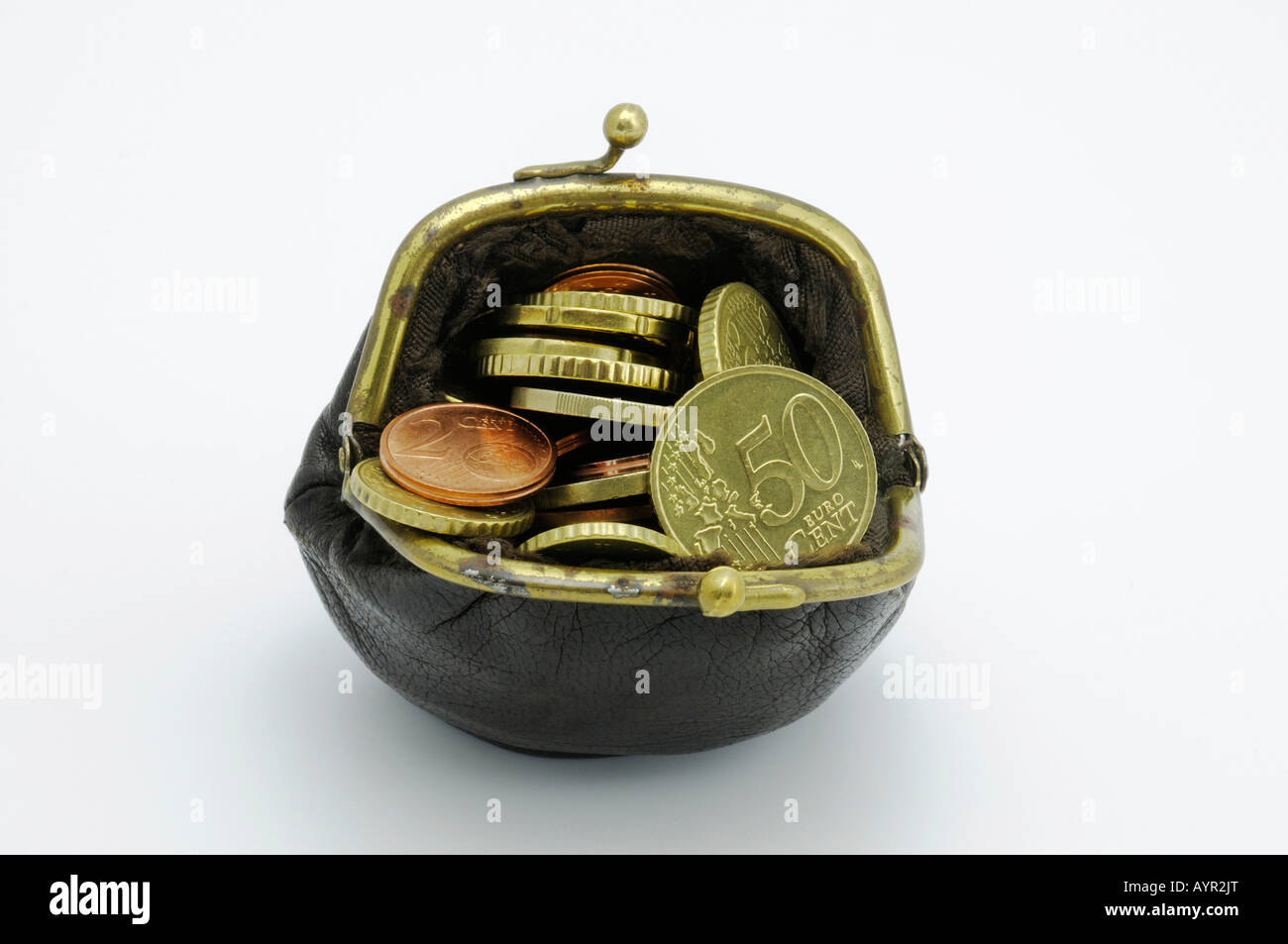 Change purse filled with Euro coins - Stock Image