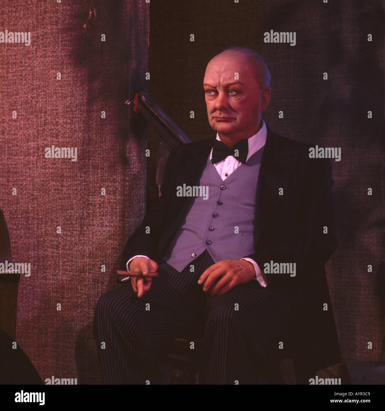 Wax Figure of Sir Winston Churchill, Josephine Tussaud Royal London Wax Museum - Victoria, BC, British Columbia, Canada - Stock Image