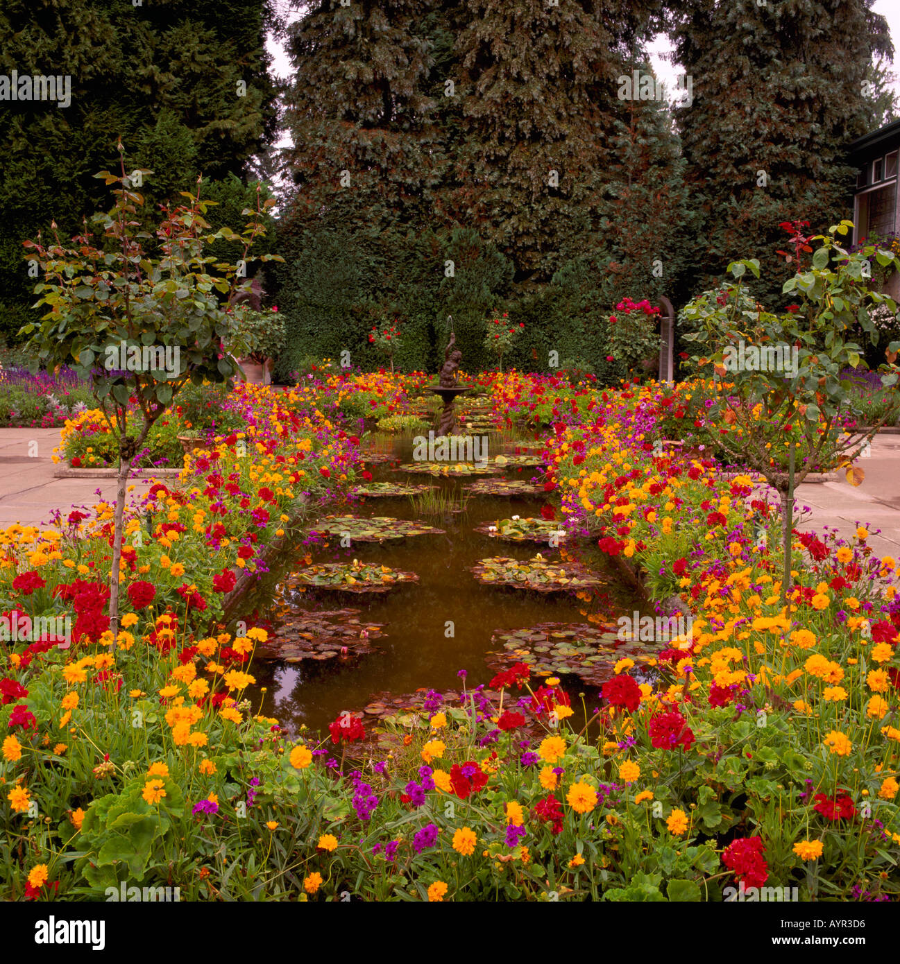 The Italian Garden at Butchart Gardens near the City of Victoria on ...