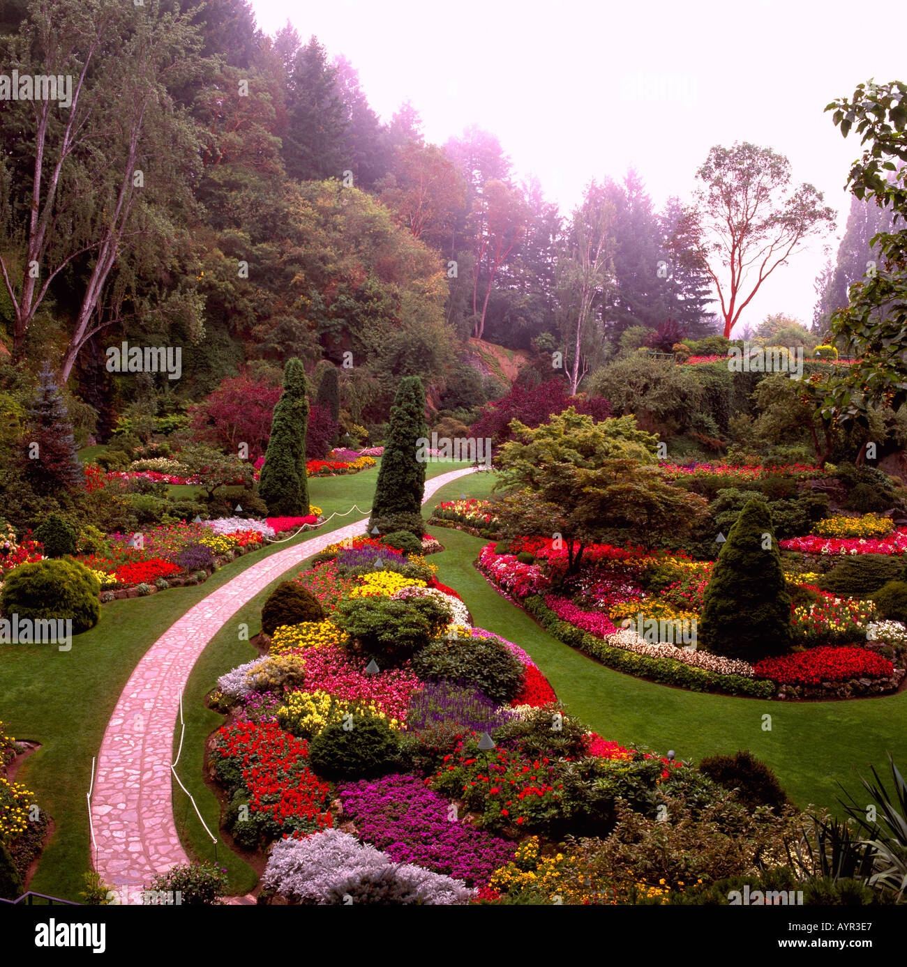 The Sunken Garden at Butchart Gardens near the City of Victoria on ...