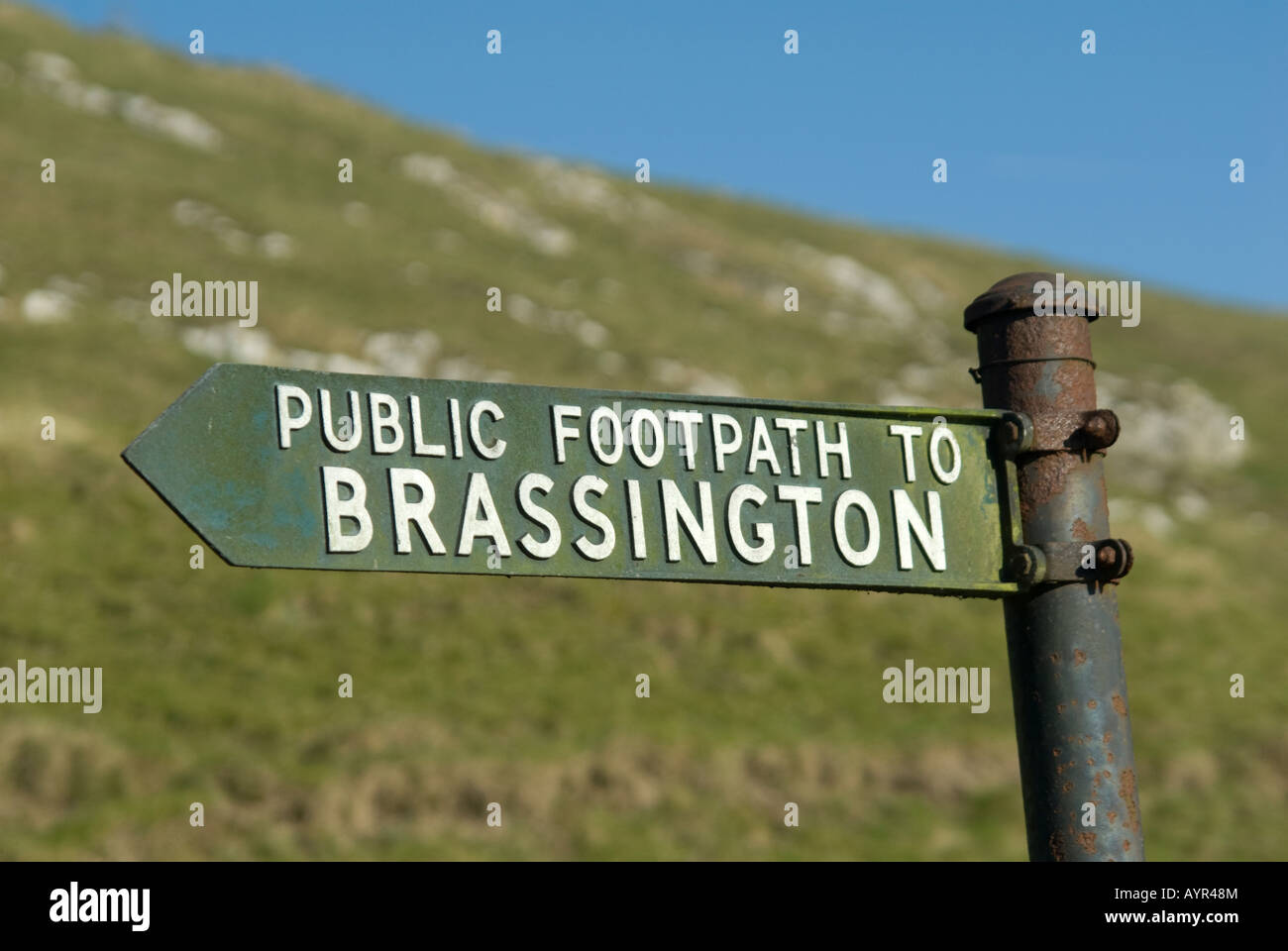 public footpath sign to brassington in the derbyshire countryside - Stock Image