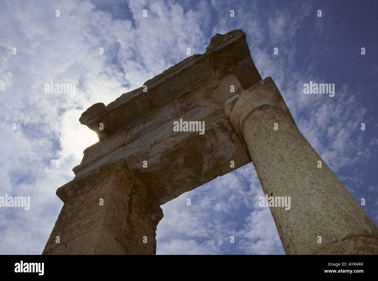 Pillars, Doric temple ruins in the ancient town of Kamiros on Rhodos Island, Dodecanese Islands, Aegean, Greece - Stock Image
