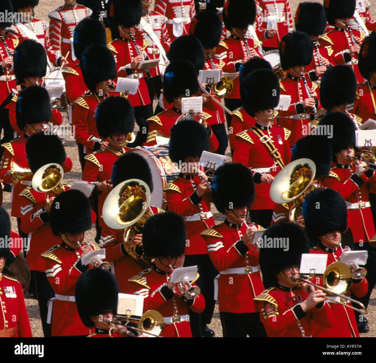 Grenadier Guards Band at The Trooping of the Queens Colour at Horseguards Parade London - Stock Image