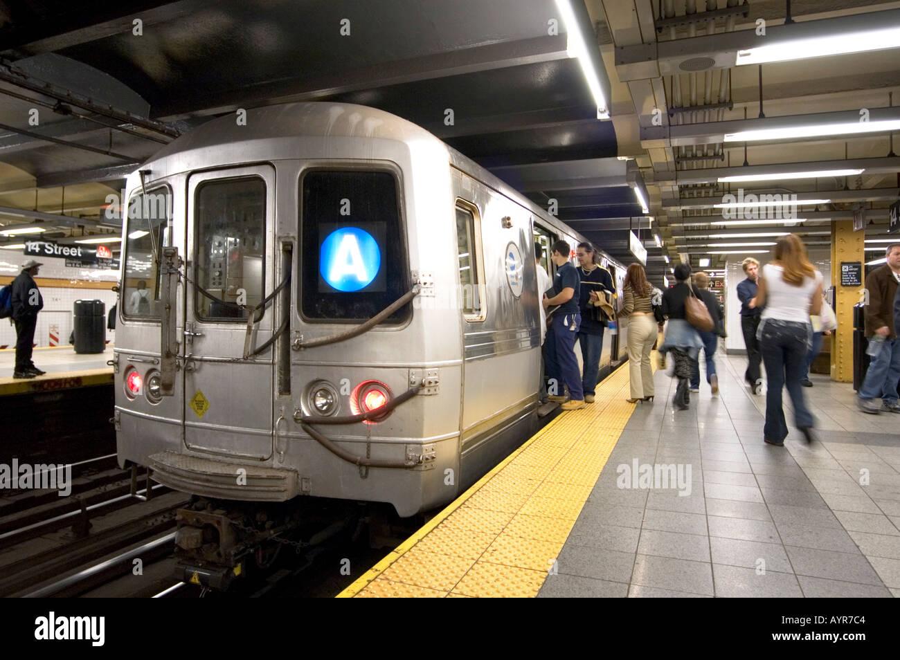 The A Train New York Subway Line New York City America Usa Stock