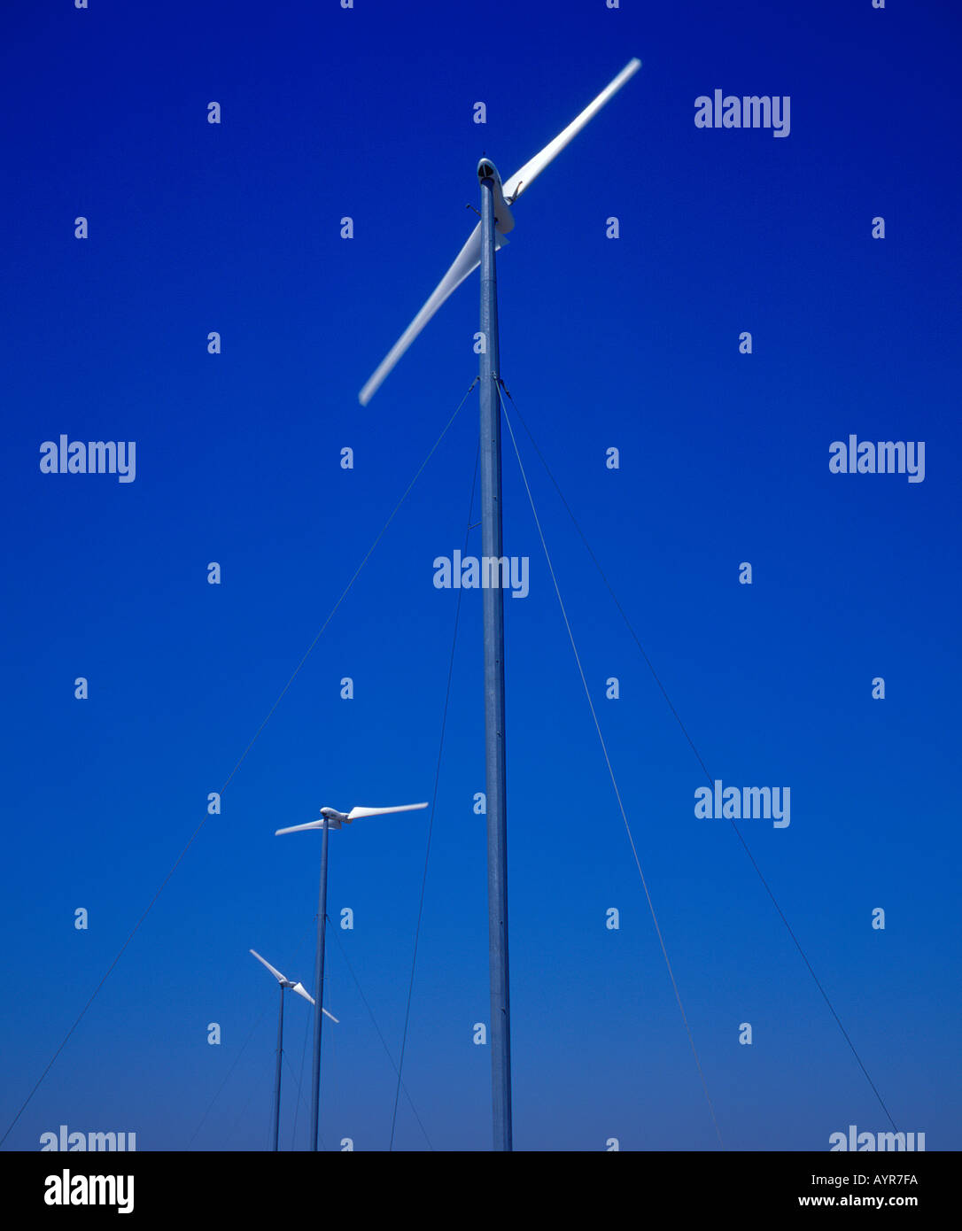 two bladed windmills. Photo by Willy Matheisl - Stock Image