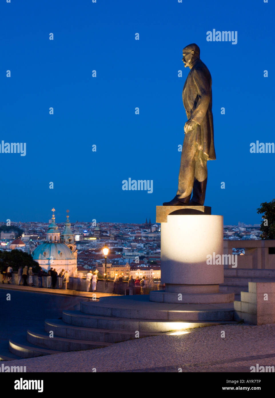 Statue of Tomáoe Garrigue Masaryk (Thomas Masaryk), Prague, Czech Republic Stock Photo
