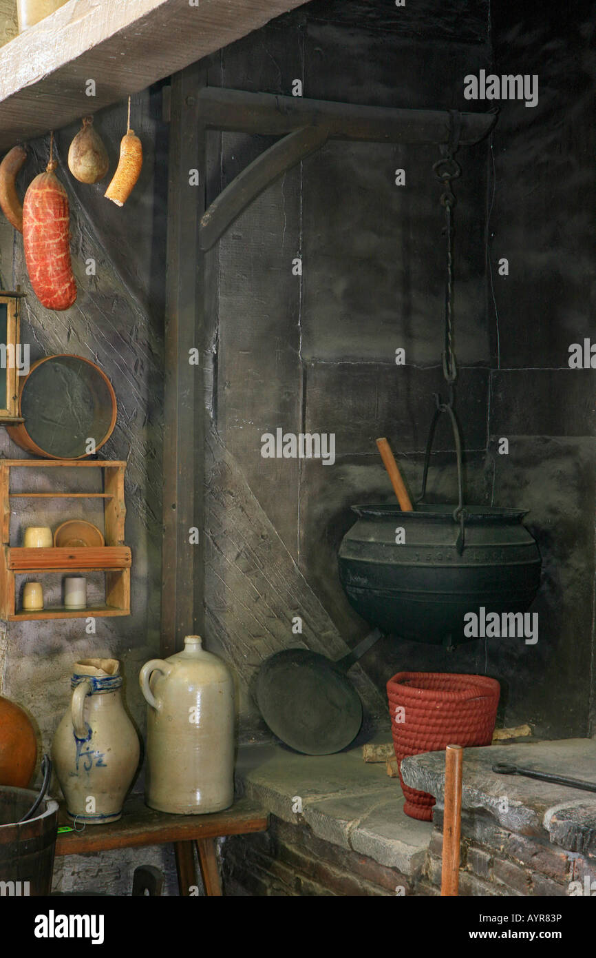 Eighteenth Century Hearth And Kitchen Hessenpark Neu Anspach Stock