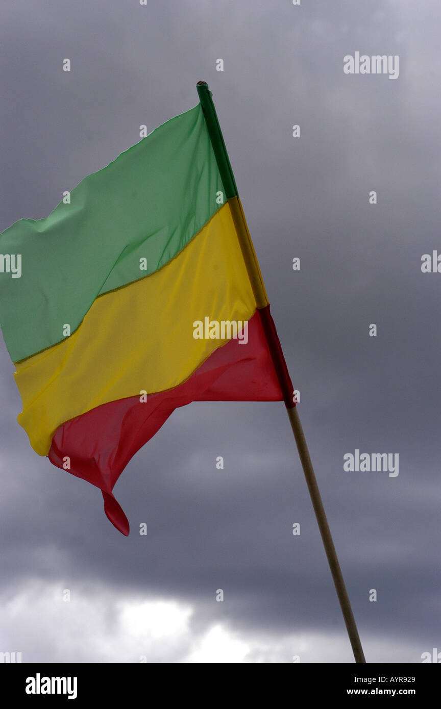 Rasta flag with cloudy background - Stock Image