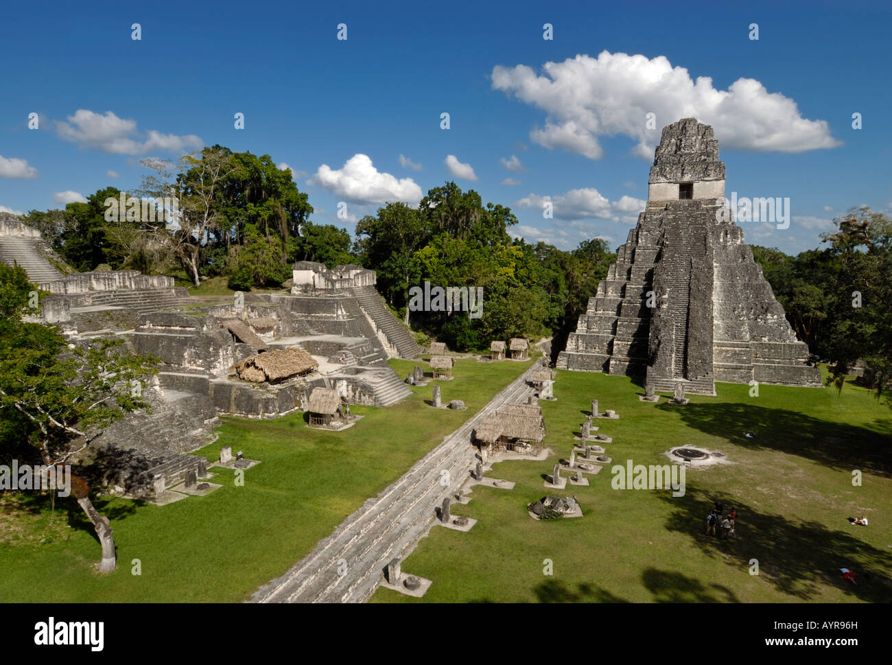 Tikal, Mayan ruins, view from Temple II toward Temple I, Temple of the Giant Jaguar, and the Gran Plaza, Yucatán - Stock Image