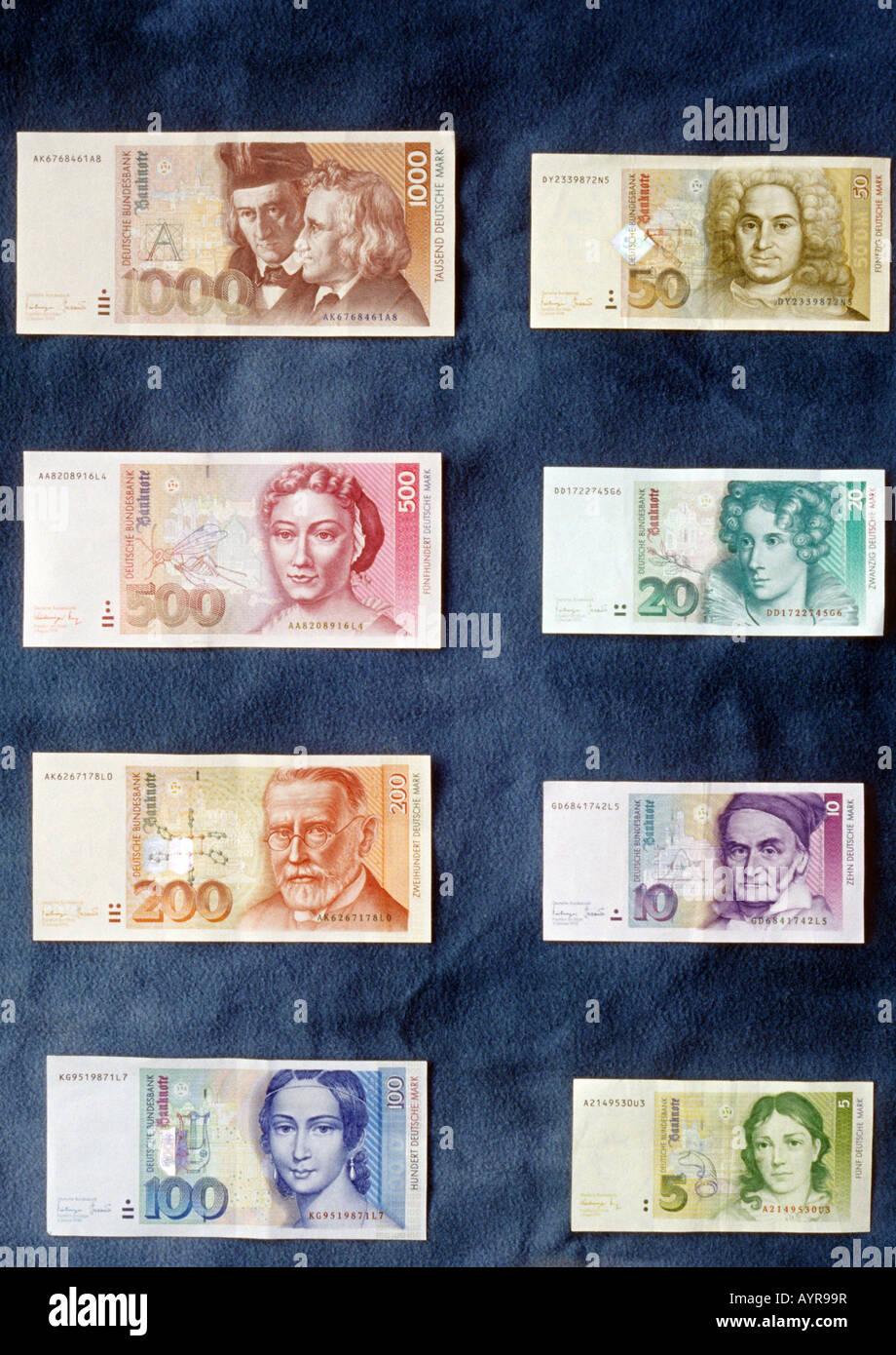 Deutschmark (German Mark) notes - Stock Image