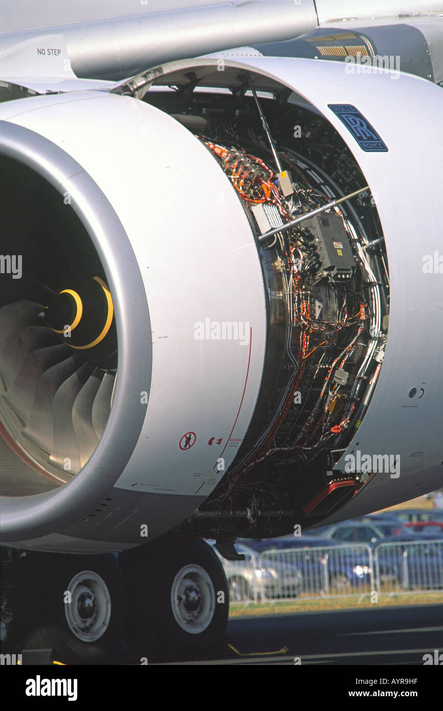 Rolls Royce Trent 900 jet engine detail on an Airbus A380 Stock Photo