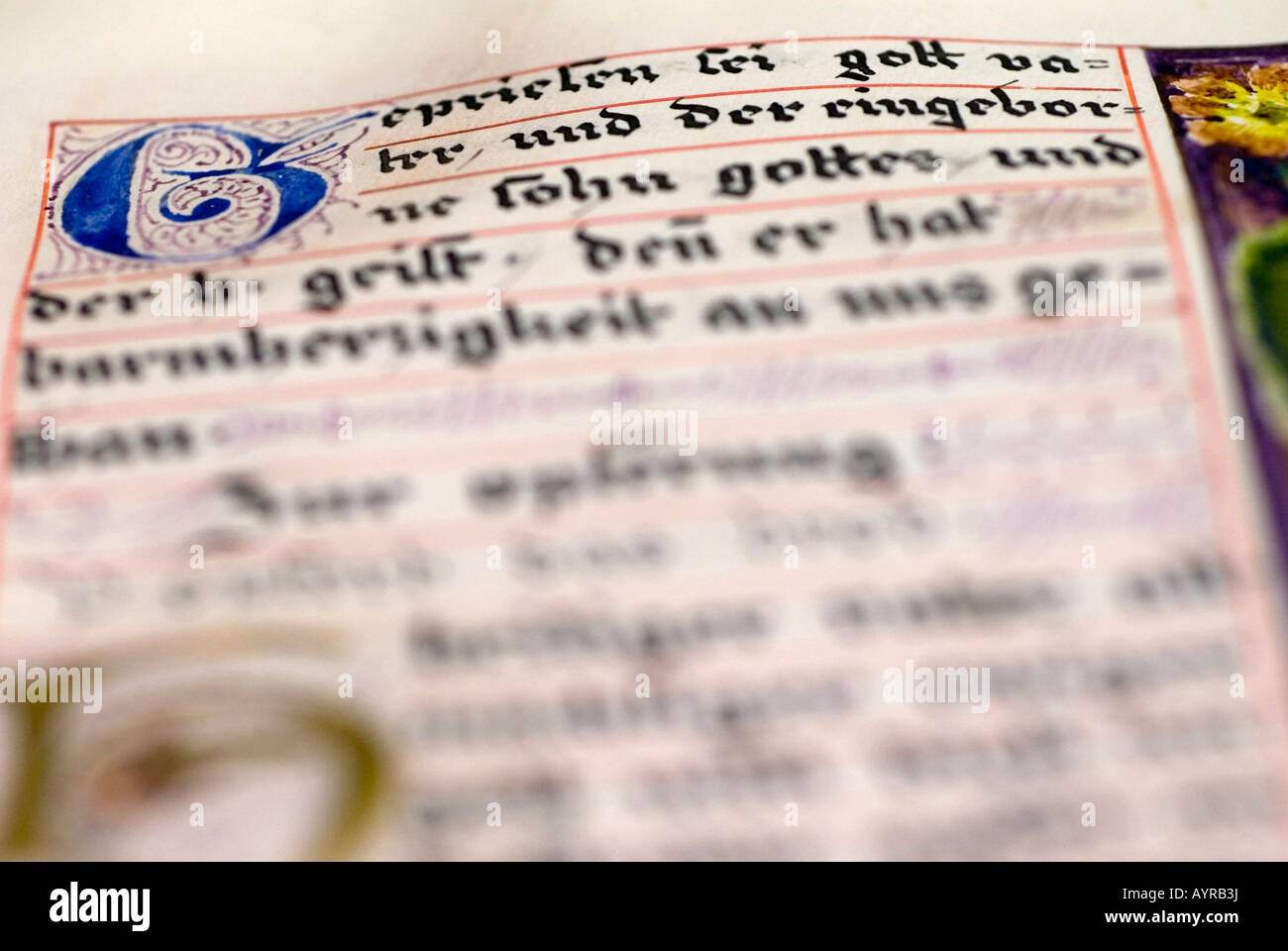 Historic, hand-written biblical script at a convent library, Germany - Stock Image