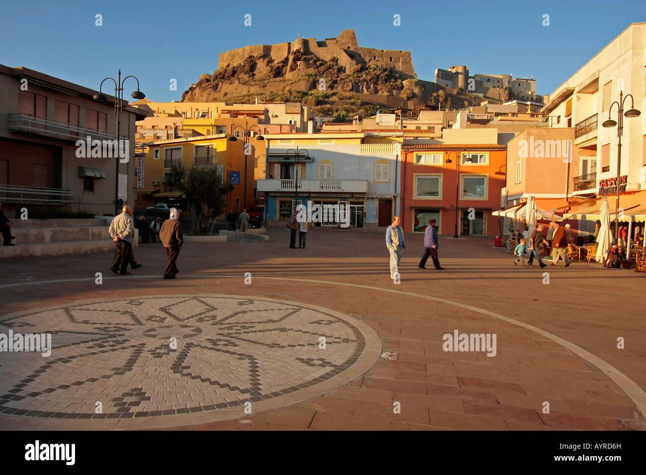 Market square in Castelsardo, Sardinia, Italy Stock Photo