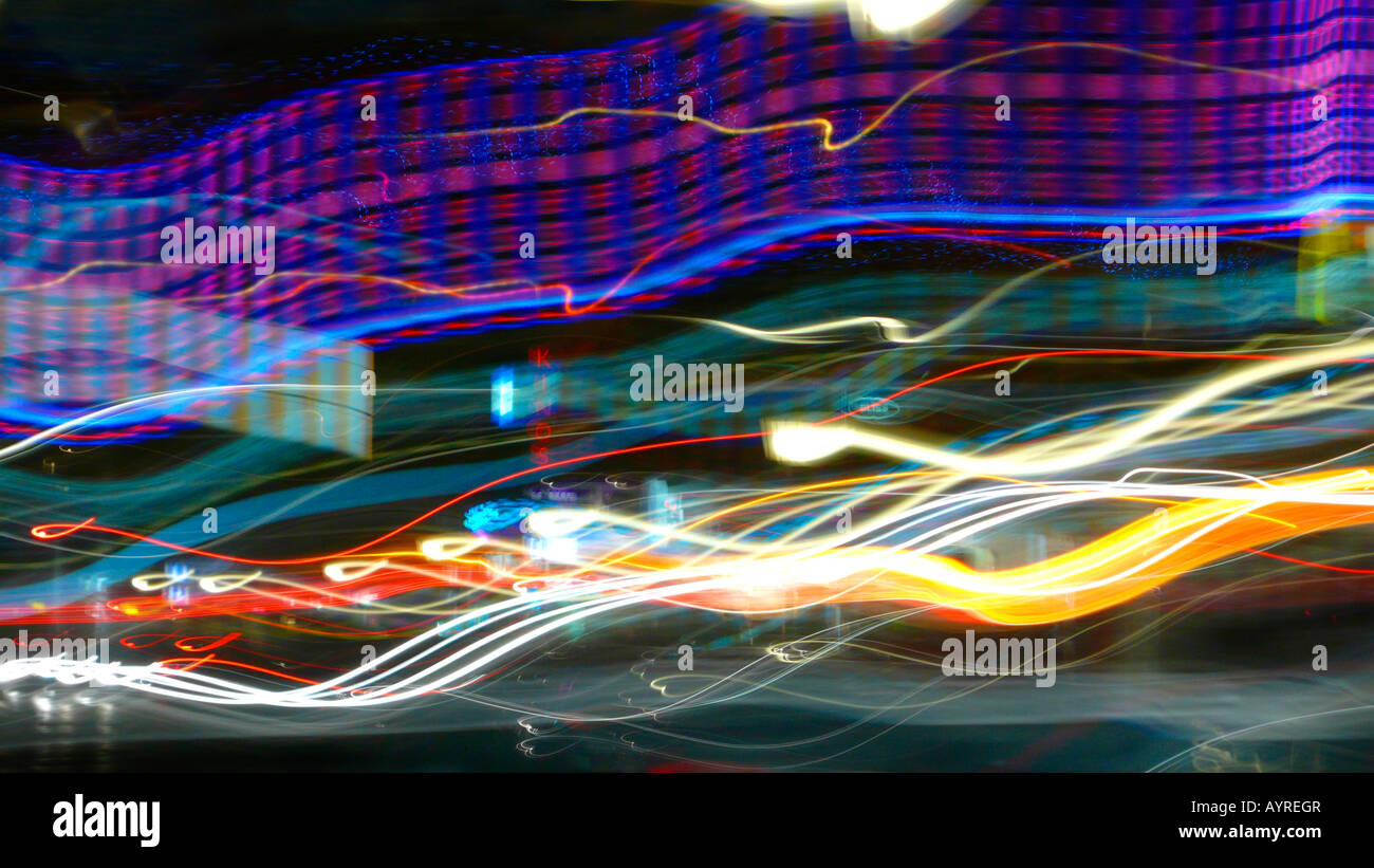 Abstract lighting installation titled 'Brustschwimmer' (Breaststroke Swimmer) - Stock Image