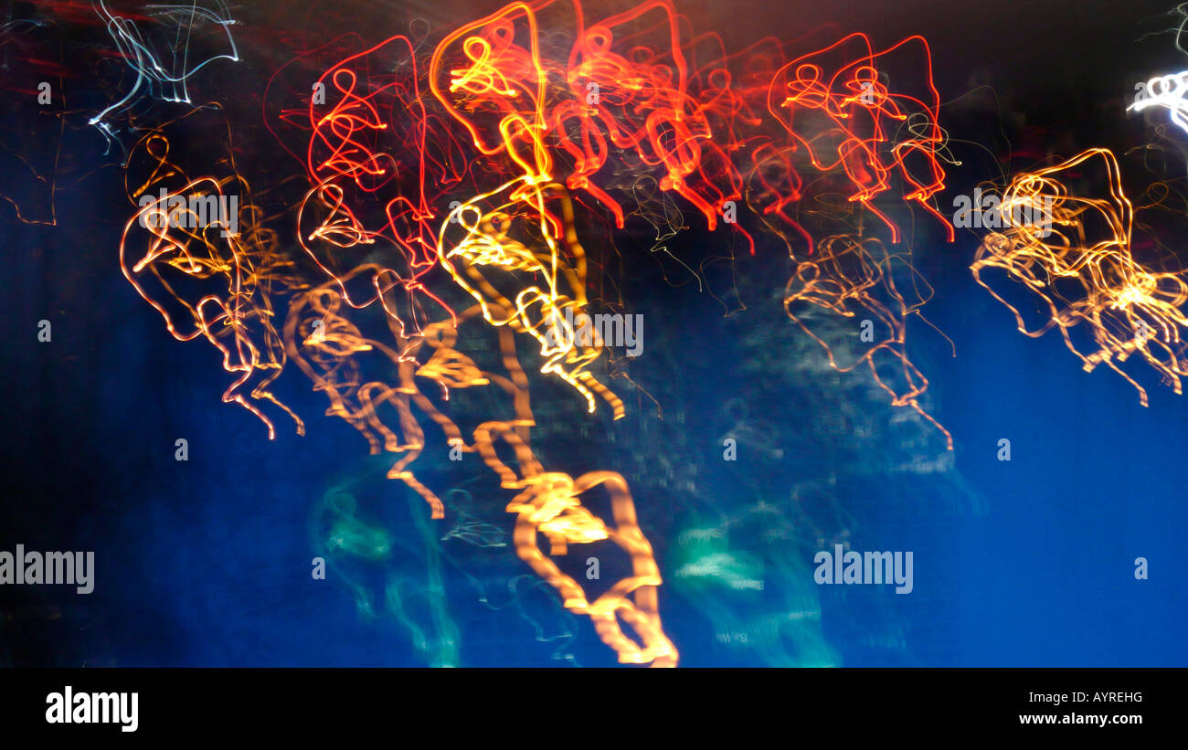 """Abstract lighting installation titled """"Kettenkarussell"""" (Swing Carousel) Stock Photo"""