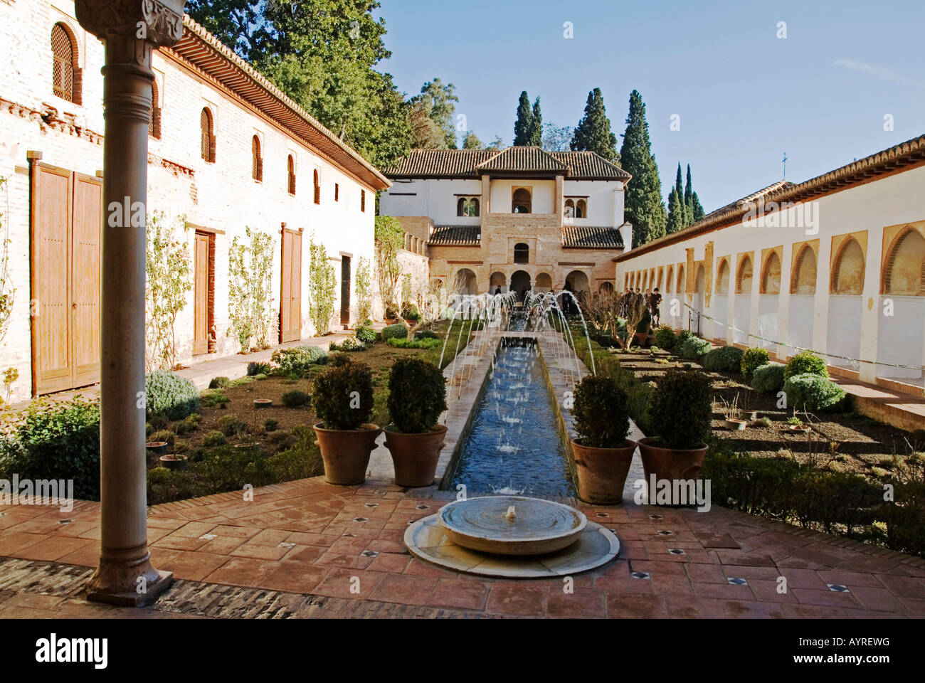 moorish architecture patio de la acequia alhambra granada stock