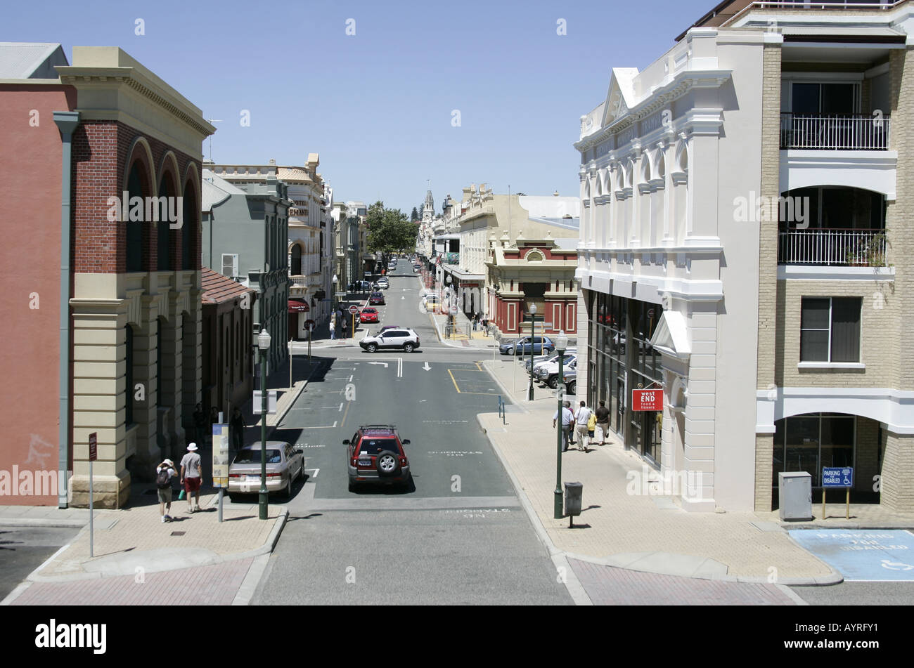 Looking down Fremantle High Street. - Stock Image