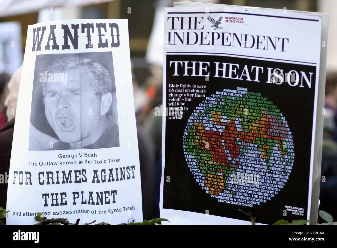 Protest placards at a Climate Change demonstration in London UK - Stock Image