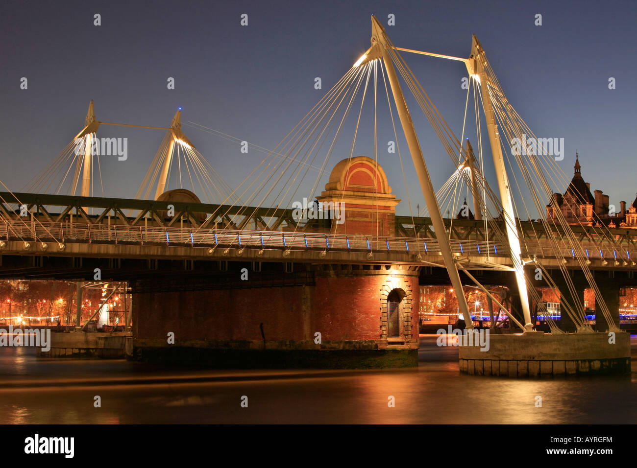 Hungerford Bridge flanked by the two Golden Jubilee Bridges (footbridges), London, England, UK - Stock Image