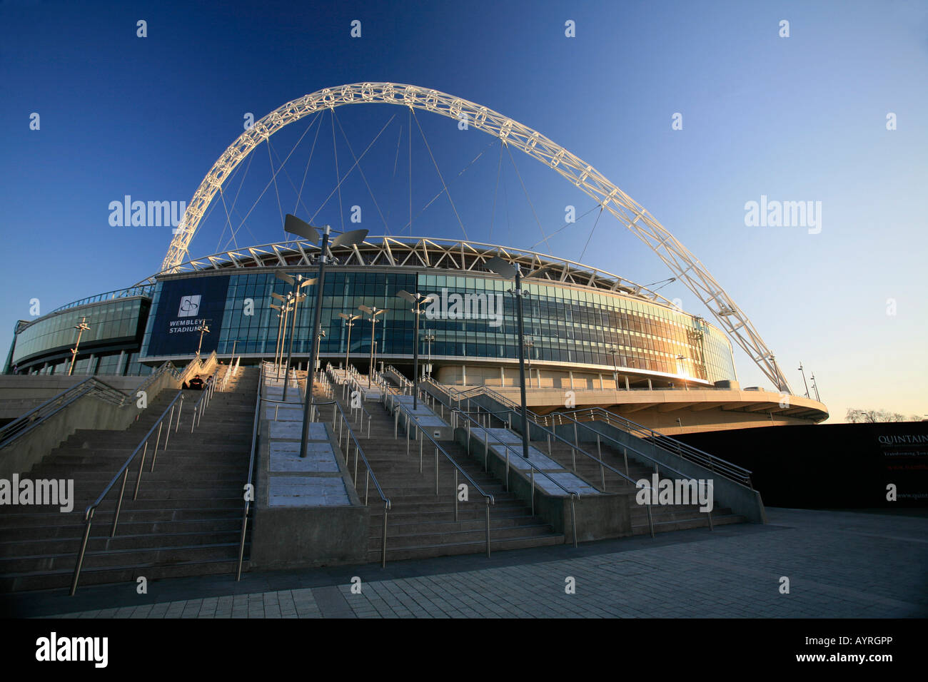 Wembley Stadium in the evening sun, London, England, UK - Stock Image