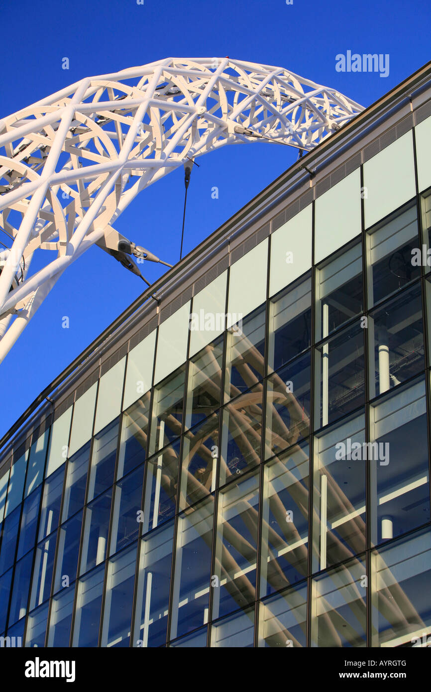 Architectural detail, steel arch, Wembley Stadium in the evening sun, London, England, UK - Stock Image