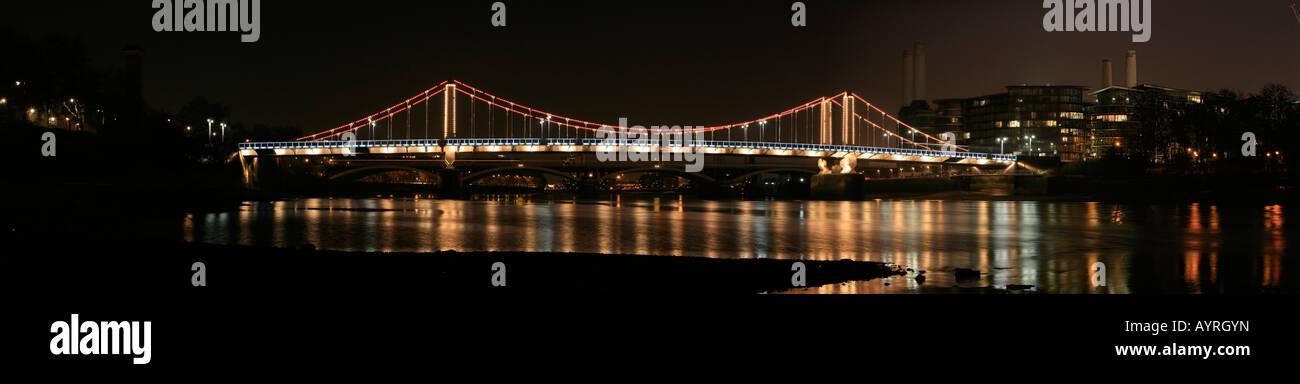 Panoramic view of Chelsea Bridge seen from the Chelsea Embankment, London, England, UK Stock Photo