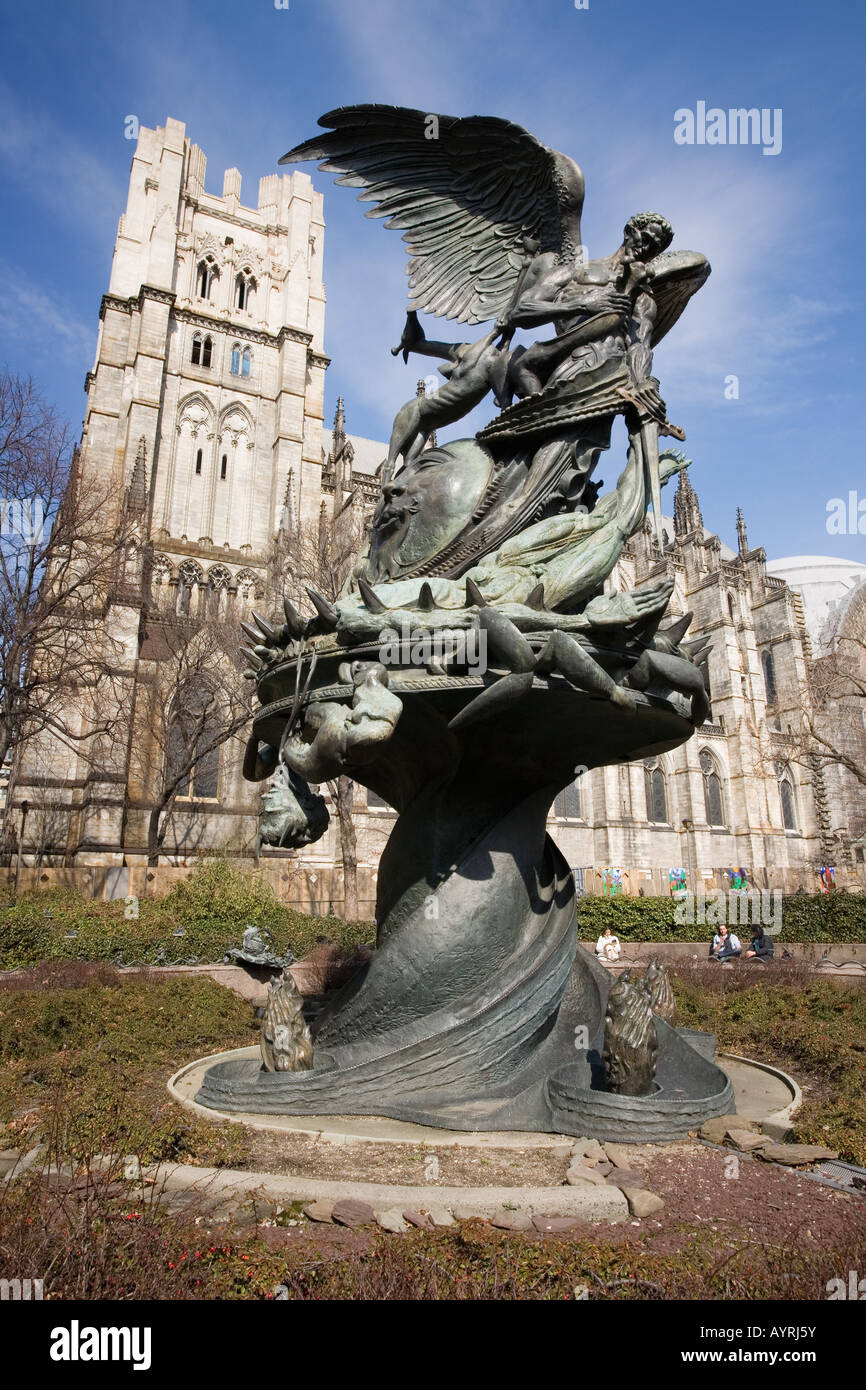 Peace Fountain at Cathedral of St John The Divine New York City - Stock Image