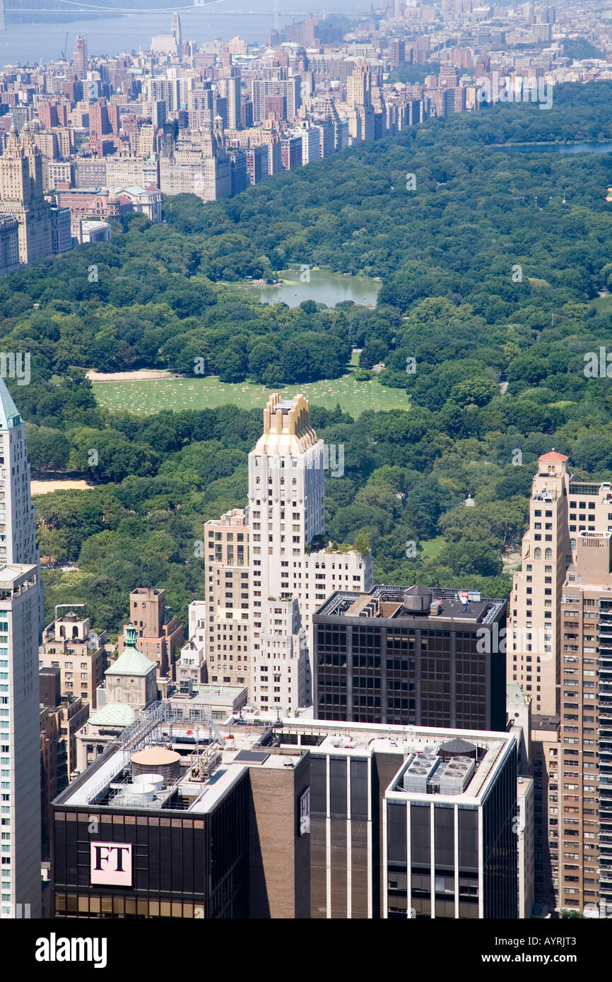 View from the Rockefeller Center of Central Park, New York, USA. Stock Photo