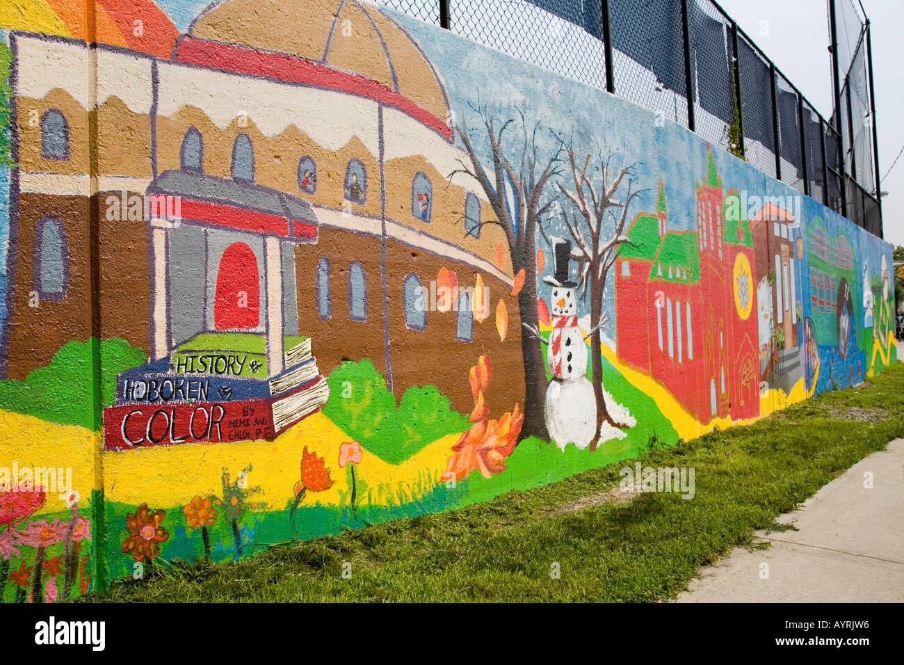 Community section of the 150 year history mural in Hoboken, New Jersey, USA. - Stock Image