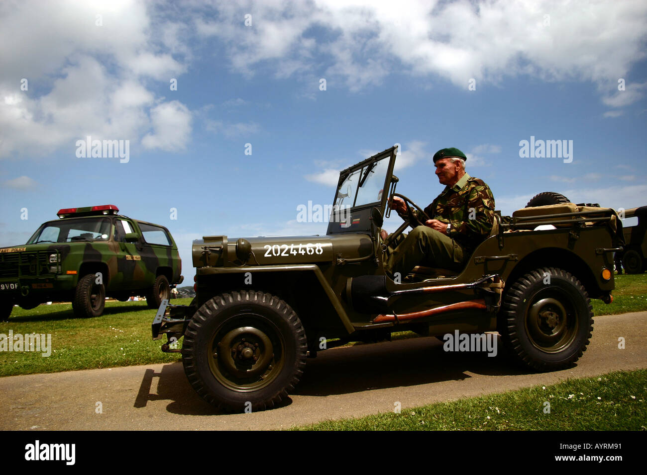 US Jeep at VE day aniversary celebrations, Pendennis Castle, Falmouth, Cornwall. 2005 - Stock Image