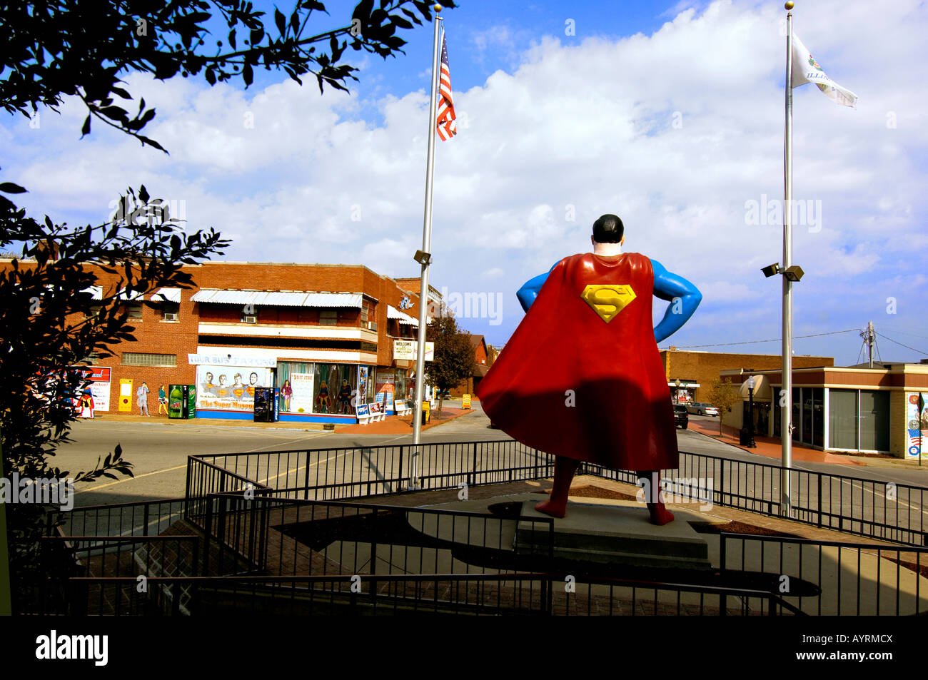 The 15 foot statue of Superman on Superman Square  in Metropolis Illinois The Hometown of Superman - Stock Image