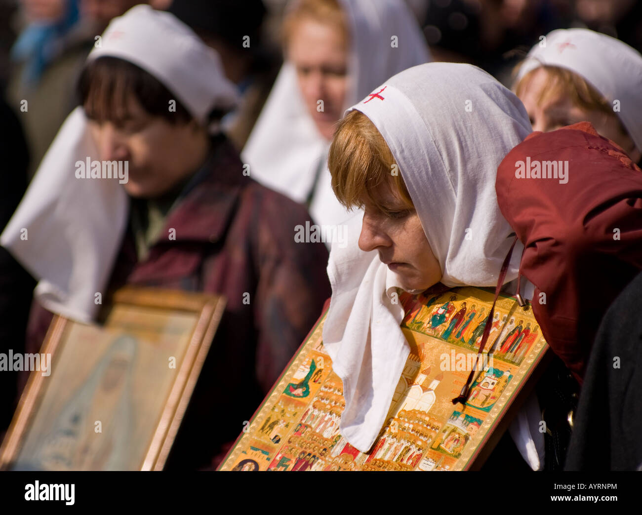 Religious procession (Cross Move) on the restoration of the unity of the Russian Orthodox Church - Stock Image