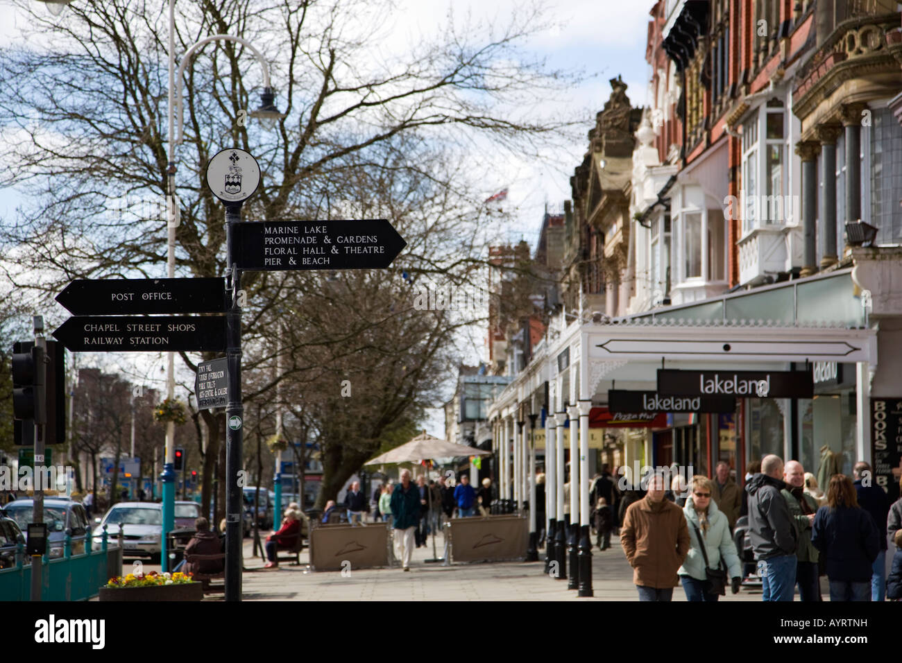 Signpost on Lord Street in Southport Stock Photo