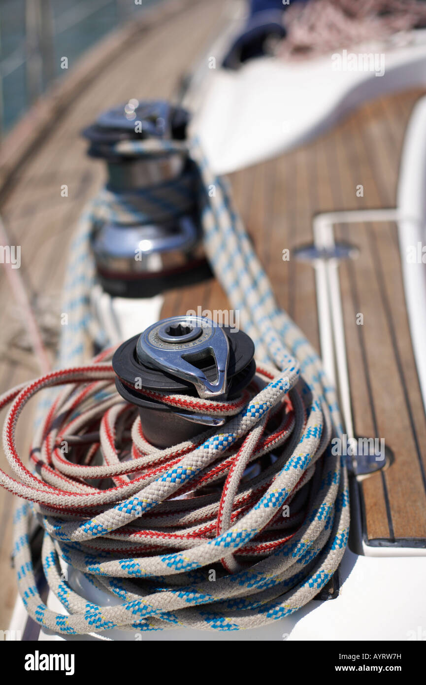 Winch on a Boat, close-up view - Stock Image
