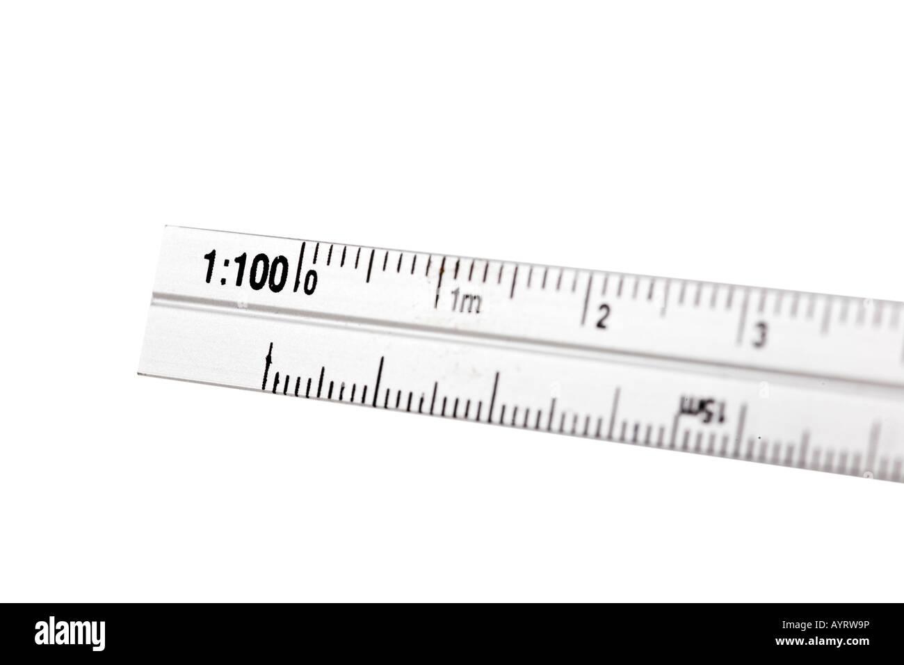 Aluminum ruler with scale isolated on white background - Stock Image