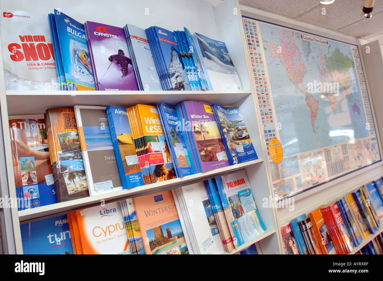 Travel brochures on display at travel agency, Britain UK - Stock Image