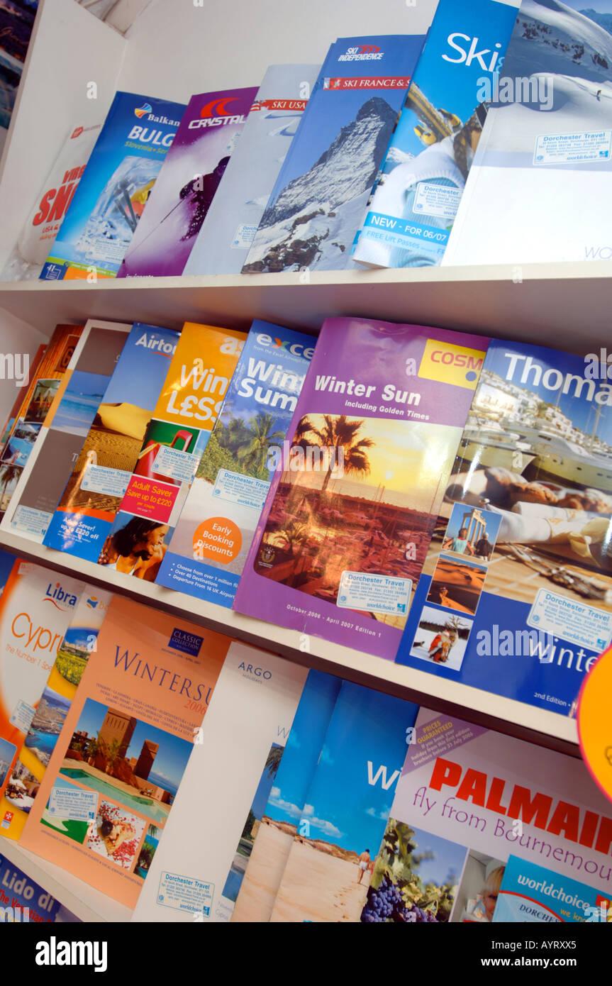 Travel brochures on display at travel agency, Britain UK ...