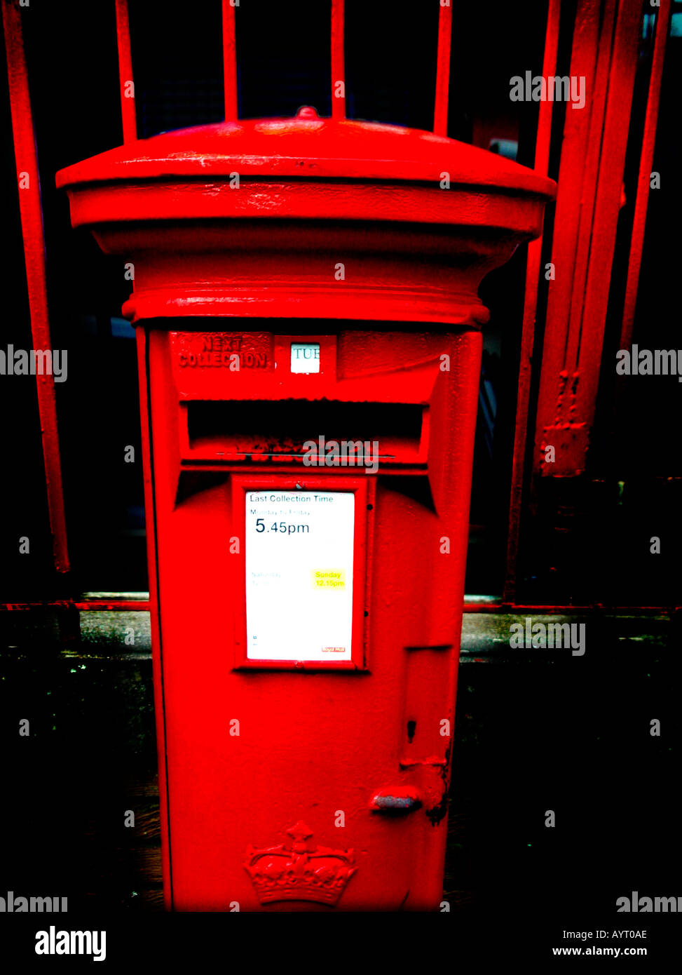 Graphic saturated high contrast abstract of British red post box - Stock Image